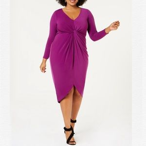 SOPRANO 2X PLUS TWIST FRONT BODYCON HIGH-LOW DRESS